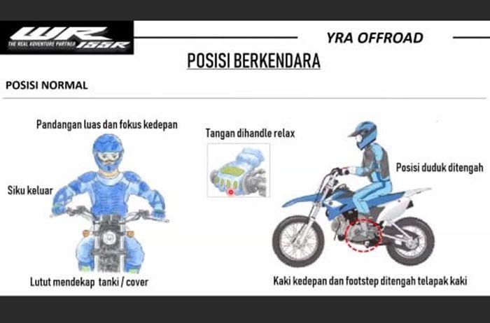 Posisi riding saat naik motor trail seperti Yamaha WR 155 R