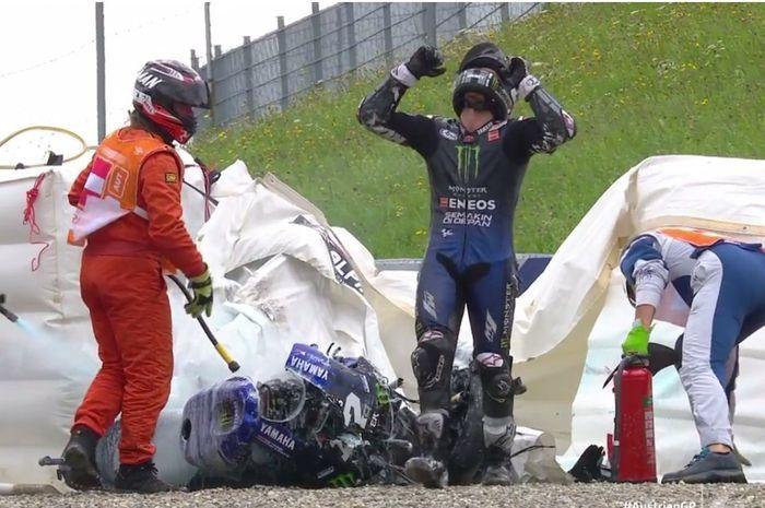 Maverick Vinales crash di MotoGP Styria 2020.