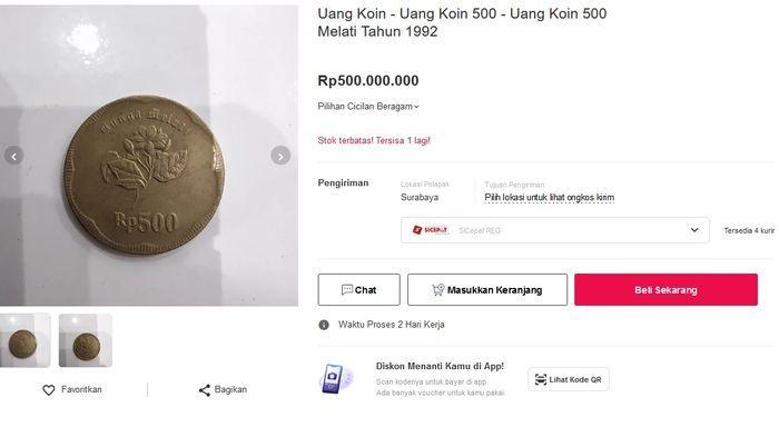 Dari pantauan Motor Plus, uang koin Rp 500 bergambar bunga Melati dijual di platform belanja online sebesar Rp 500 juta.