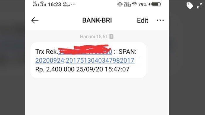 Ilustrasi SMS dari bank BRI. Lewat HP Cek Penerima Bantuan Pemerintah Rp 2,4 Juta, Begini Caranya