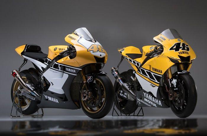 Yamaha YZR-M1 2005 dan 2015 warna 60th Anniversary