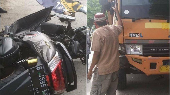 Kecelakaan antara sepeda motor N-Max dengan Truk di Jalan Inspeksi Kalimalang Cikarang Bekasi, dua orang tewas, Sabtu, (31/10/2020).