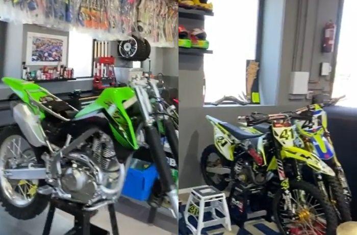 Kawasaki KLX140R dan motor trail Suzuki RM-Z koleksi Aleix Espargaro