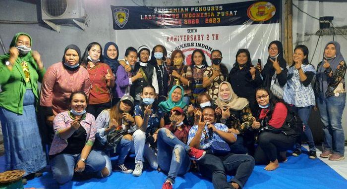 Acara pengukuhan pengurus Lady Bikers Indonesia (LBI) sekaligus perayaan ulang tahun tetap mengikuti protokol kesehatan.