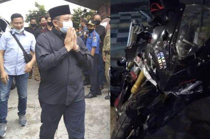 Wakil Bupati Karanganyar saat mengantar almarhum putranya ke pemakaman dan foto CBR250RR milik korban