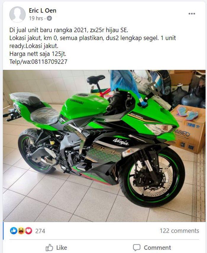 Postingan Kawasaki Ninja ZX-25R dijual Rp 125 jutaan.