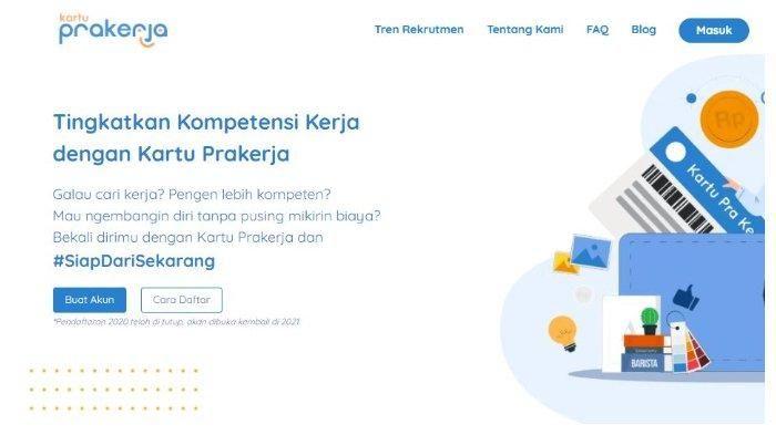 Situs Kartu Prakerja www.prakerja.go.id sudah dibuka, buruan buat akun kamu.