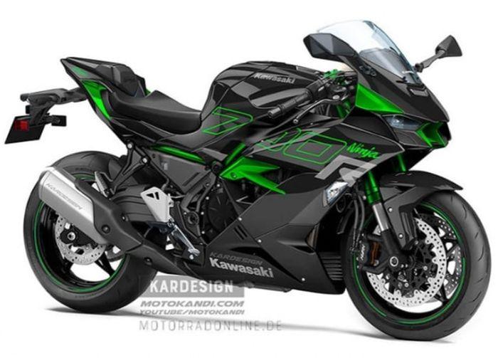 Gambar render motor baru Kawasaki Ninja 700