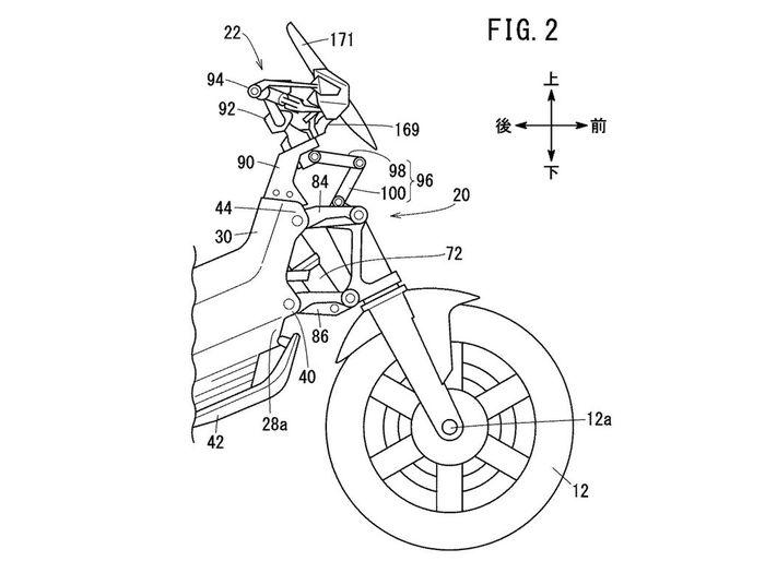 Bagian depan gambar paten calon motor listrik Honda.