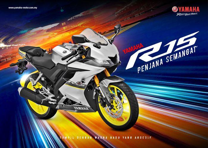 Warna baru Yamaha YZF-R15 2021 di Malaysia, persis seperti di Indonesia.