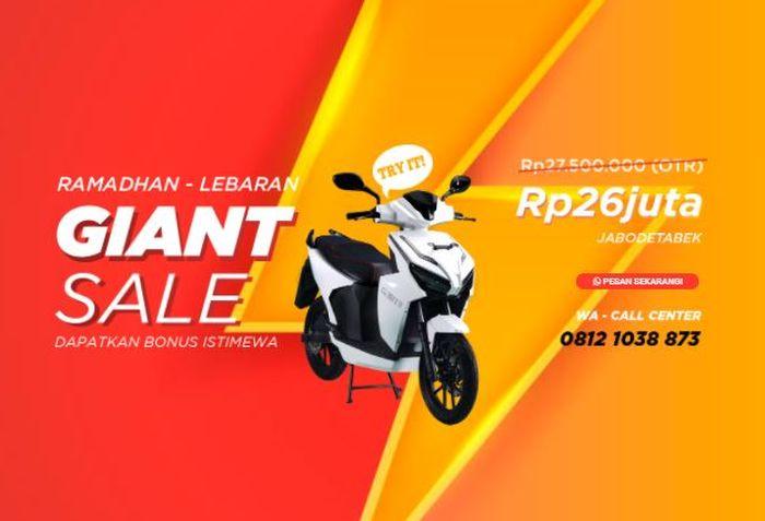 Tangkapan layar promo diskon harga motor listrik Gesits di situs resminya.