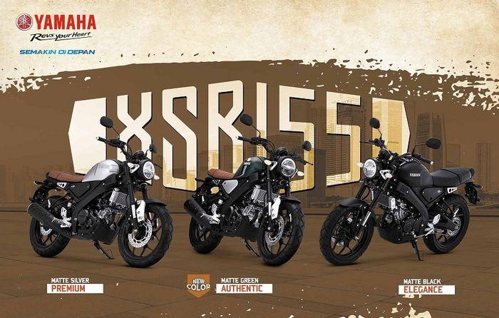 Pilihan warna Yamaha XSR 155, termasuk warna baru Matte Green.