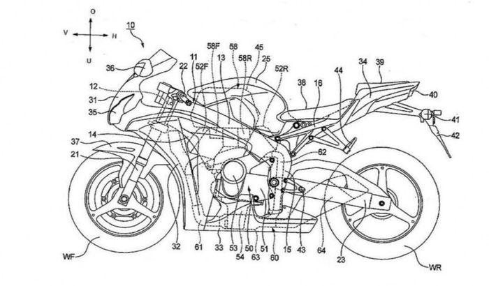 Konsep motor sport Honda dengan mesin V4 dengan V2 Tech.