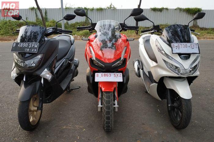 Ilustrasi komparasi Yamaha NMAX, Honda ADV150 dan PCX