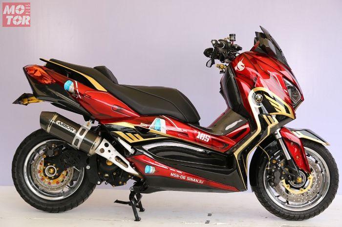 Gambar ilustrasi sokbreker upside down untuk Yamaha XMAX. Yamaha XMAX milik wiryawan dari FAT Motor juara Master Customaxi Bekasi 2020.