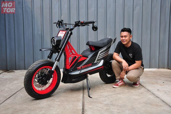 Modifikasi Honda BeAT jadi motor listrik custom, punya gaya motard garapan Katros Garage