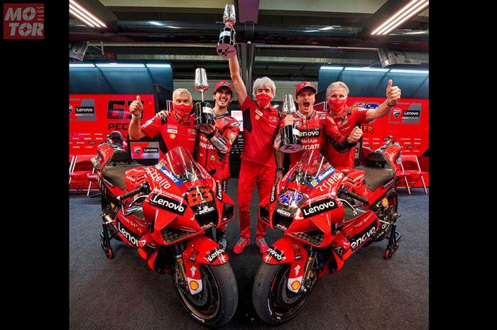 Ducati cetak banyak sejarah baru di MotoGP 2021 setelah pembalapnya Jack Miller dan Francesco Bagnaia finis 1-2 di sirkuit Jerez, (2/5/2021)