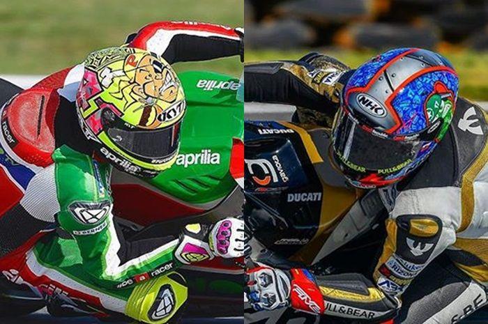Aleix Espargaro dan Karel Abraham gunakan helm merek Indonesia