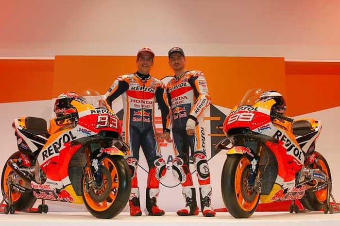 Ilustrasi. Marc Marquez dan Jorge Lorenzo di launching tim Repsol Honda 2019, tahun ini Jakarta kembali dipilih jadi lokasi launchin Repsol Honda Team, (4/2/2020).