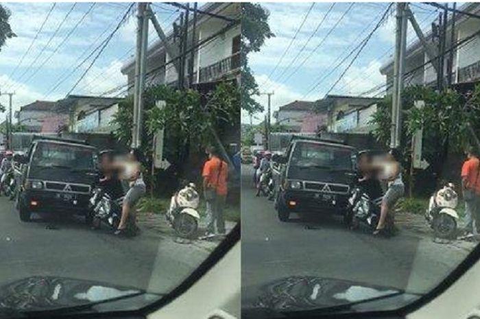 Penganiayaan seorang pemotor di Bali dilakukan seorang oknum anggota ormas.