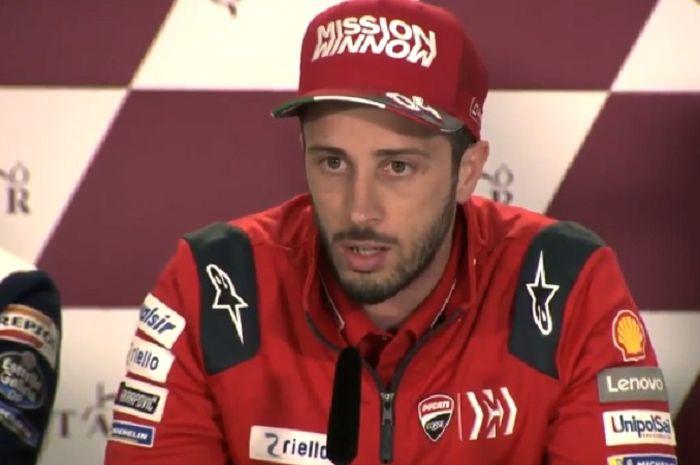 Andrea Dovizioso saat sesi wawancara sebelum balap MotoGP 2019 di Losail, Qatar.