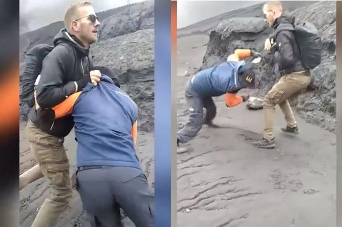 Bule Jerman dorong petugas sampai jatuh di Bromo