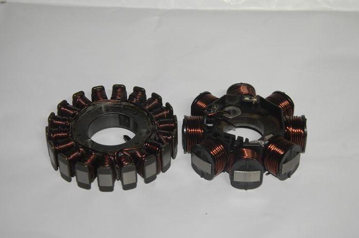 Spul motor sistem kelistrikan 3 phase (kiri) spul motor kelistrikan 1 phase (kanan)