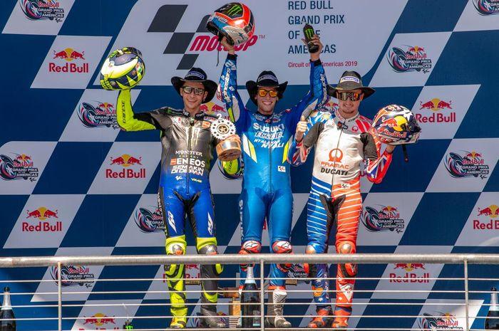 Podium MotoGP Amerikas Serikat 2019, Valentino Rossi (kiri), Alex Rins (tengah) dan Jack Miller (kanan)