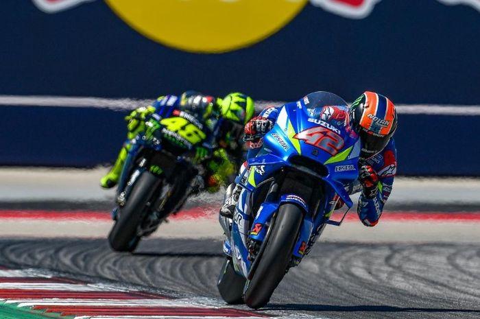 Pertarungan sengit Alex Rins dengan Valentino Rossi di MotoGP Amerika 2019