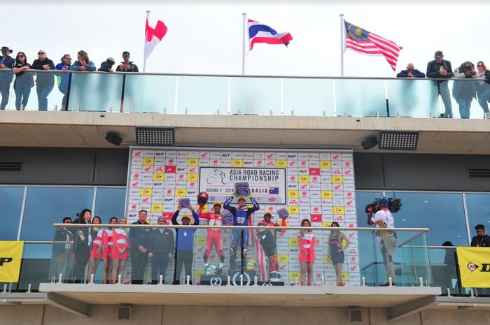 Andi Gilang pembalap Astra Honda Racing Team (AHRT) podium 2 di race ke dua SS600 ARRC 2019