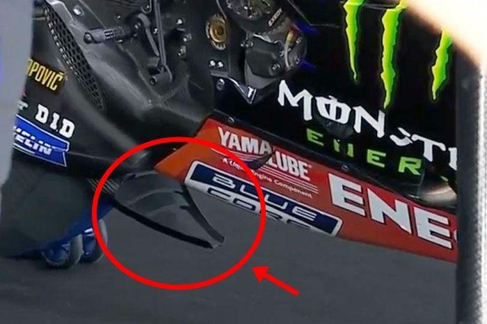 Spoiler swingarm di motor Yamaha Valentino Rossi saat MotoGP Spanyol 2019