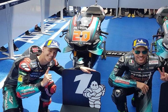Fabio Quartarao (kiri) bikin rekor baru sebagai pembalap termuda peraih pole position bersama rekan setim, Franco Morbidelli (kanan) menempati start di baris depan MotoGP Spanyol 2019