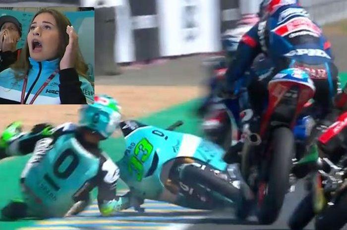 Aksi penyelamatan Jakub Kornfeil di MotoGP Le Mans