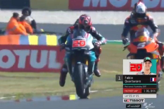 Fabio Quartararo jadi yang terdepan di sesi FP1 MotoGP Prancis 2019.