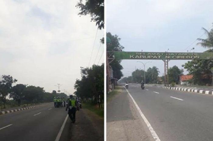 Oknum polisi lakukan pungli di sepanjang jalur Cirebon, Jawa Barat.