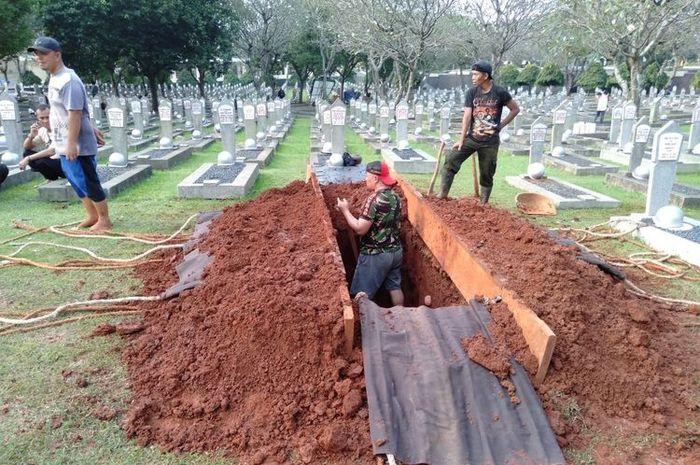 Makam yang disiapkan untuk Ani Yudhoyono di TMP Kalibata, Jakarta.