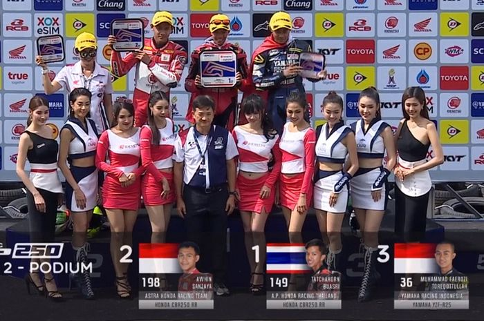 Dua pembalap Indonesia isi podium race 2 AP250 ARRC Thailand 2019