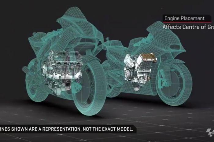 Ada 6 pabrikan dan tampil sampai 22 unit motor MotoGP, ternyata untuk konfigurasi mesinnya hanya 2 macam