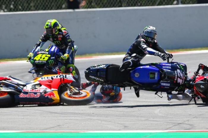 Insiden kecelakaan di MotoGP Catalunya 2019.