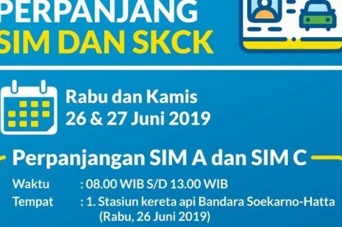 Poster pelayanan SIM keliling di Bandara Soekarno-Hatta pada Rabu (26/6/2019).