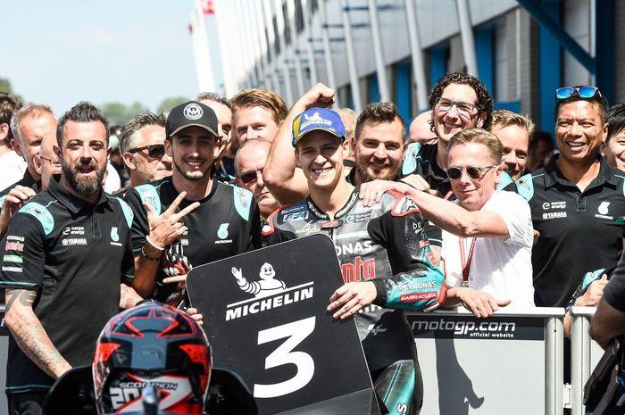 Fabio Quartararo meski finis 3 di MotoGP Belandar 2019 tetap ada di puncak klasemen pembalap Rookie of The Year musim ini