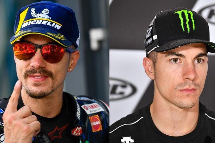 Maverick VInales saat menang MotoGP Belanda berkumis dan berjanggut (kiri) dan saat konferensi pers MotoGP Jerman (4/7/19) tampak klimis tanpa kumis dan janggut