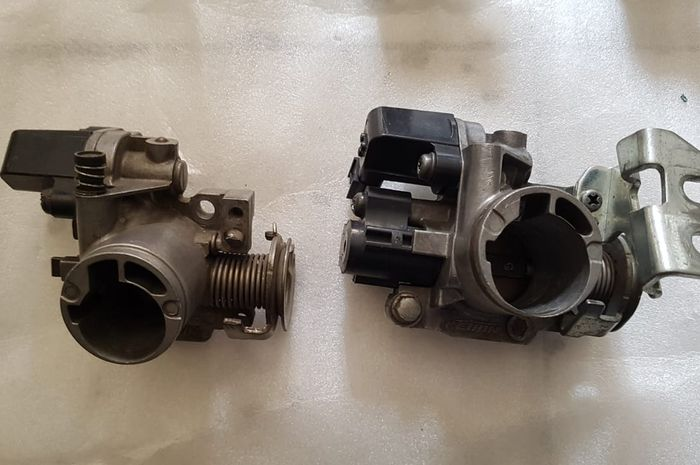 Perbandingan throttle body Honda BeAT (kiri) dan Vario 150 (kanan)