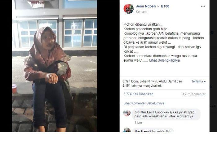 Postingan Facebook akun Jemi Ndoen yang mengatakan ada seorang wanita jadi korban pelecehan driver ojol di Surabaya.
