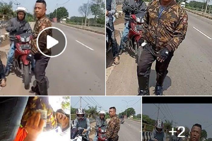 Polisi gadungan di daerah Karawang sedang menyetop pengendara motor