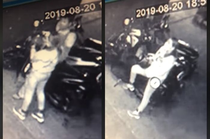 Pasangan maling motor Honda Vario terekam CCTV