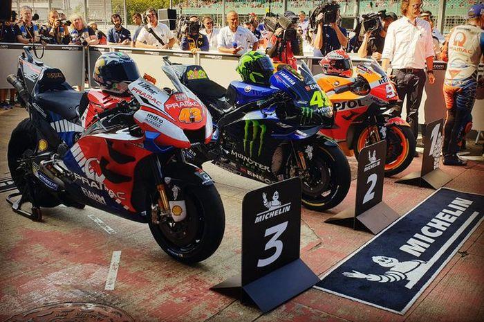 Marc Marquez, Valentino Rossi dan Jack Miller menempati start terdepan di raceday MotoGP Inggris 2019, (25/8/2019)