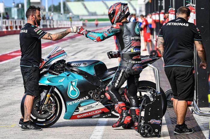 Fabio Quartararo (Petronas Yamaha SRT) jadi pembalap terkencang di hari pertama tes MotoGP 2019 di sirkuit Misano, (29/8/2019)
