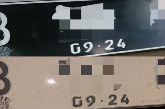 Pelat nomor terbaru latarnya masih hitam tapi difoto menggunakan flash akan berubah