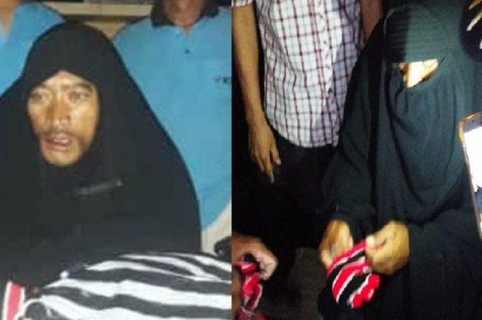 Pria pakai hijab dan cadar diamankan, sebelumnya dicurigai sebagai maling motor